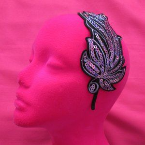 new light pink sequin feather headband fascinator